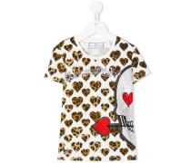T-Shirt mit Leoparden- und Herz-Print