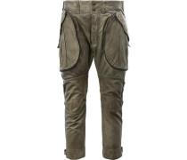 - Cropped-Lederhose mit Reißverschlusstaschen
