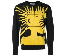 Intarsien-Pullover mit Punk-Motiv