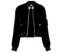 double zip velvet bomber jacket