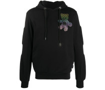 Teddy-print embroidered hoodie