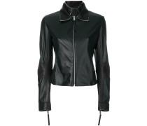 Taillierte Lederjacke mit Reißverschluss