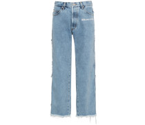 Mid rise straight leg frayed jeans