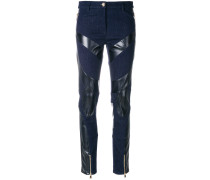 denim and leather skinny trousers