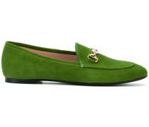 Wildleder-Loafer mit goldfarbener Spange