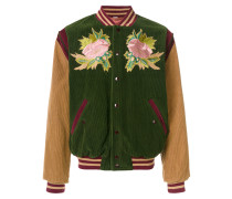 "Florale Bomberjacke mit ""Angry Cat""-Stickerei"