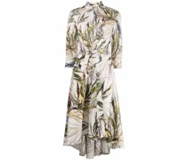 Chemisier tropical-print tied shirtdress