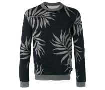 Intarsien-Pullover mit Blatt-Print