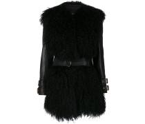fur-trimmed leather jacket