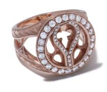 14kt Rotgoldring mit Diamanten