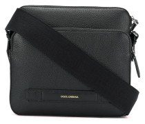 embossed logo messenger bag