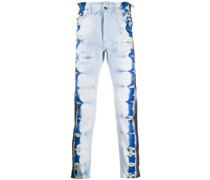 Distressed-Jeans mit Batikmuster