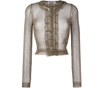 Cropped-Cardigan mit Metallic-Effekt