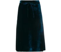 knee-length velvet skirt