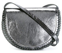 crackled metallic crossbody bag