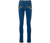 Skinny-Jeans mit Blumenstickerei