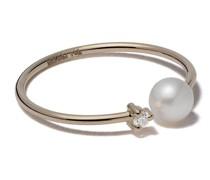 14kt Gelbgoldring mit Perle und einem Diamanten