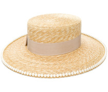 Double G embellished straw hat