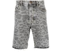 Jeans-Shorts mit Leoparden-Print