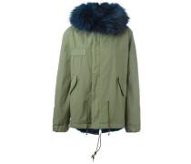 Jacke mit Waschbär-Pelzbesatz und Futter aus