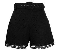 Bestickte Olive Shorts