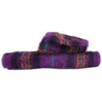 checked felted slippers