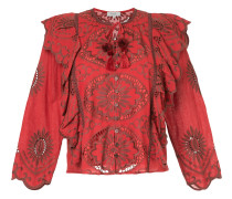 embroidered blouse with frill trim