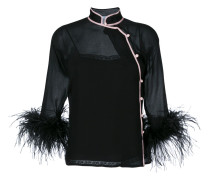 Feather Trim Silk Blouse