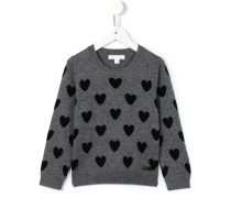 Intarsien-Pullover mit Herzmuster
