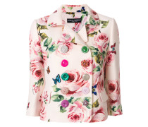 double breasted rose print blazer