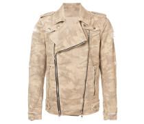 destroyed camouflage print biker jacket