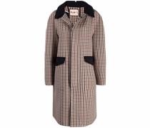 gingham-print coat