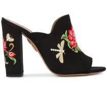 Lotus flower embroidered mules