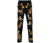 cat print skinny trousers