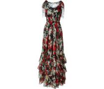 Bedrucktes Kleid mit gerüschtem Saum