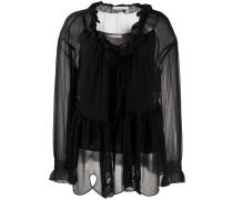 Transparente Bluse mit Schleife