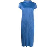 mock-neck pleated dress
