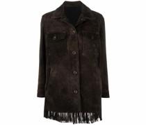 fringed-hem leather jacket