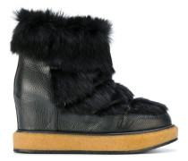 fur trim wedged boots