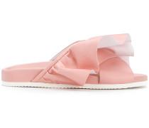 ruffle slider sandals