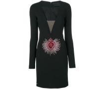 embellished logo plunge dress - women