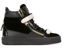 High-Top-Sneakers mit Kristallverzierung