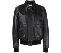 distressed effect bomber jacket