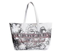 large reversible doodle print tote