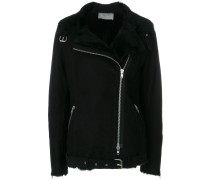 shearling jacket with silver hardware