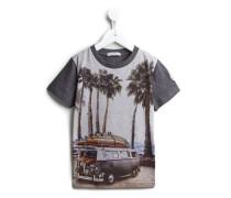 T-Shirt mit Surfboard-Print
