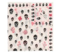 skull and rose print scarf