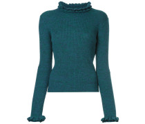 frill-trim fitted sweater
