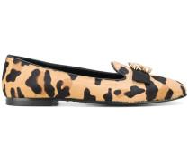 embellished leopard ballerina shoes
