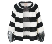 striped cardigan with sequin cuffs